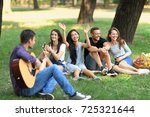 friends or students spending... | Shutterstock . vector #725321644