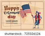 happy columbus day america... | Shutterstock .eps vector #725326126