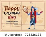 happy columbus day america... | Shutterstock .eps vector #725326138