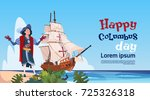 happy columbus day ship in... | Shutterstock .eps vector #725326318