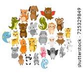 cute vector zoo.  animals. hare ... | Shutterstock .eps vector #725329849