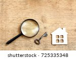 flat layout with a house  key... | Shutterstock . vector #725335348