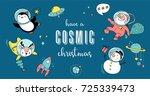 merry christmas   cosmic xmas ... | Shutterstock .eps vector #725339473