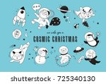 merry christmas   cosmic xmas ... | Shutterstock .eps vector #725340130