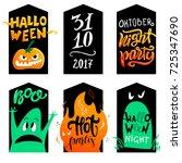 halloween cards set. vector... | Shutterstock .eps vector #725347690