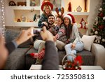 group of friends having fun for ... | Shutterstock . vector #725350813
