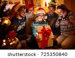 surprised smiling woman and... | Shutterstock . vector #725350840
