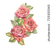 watercolor red roses | Shutterstock . vector #725355343