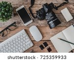 top view of photographer work... | Shutterstock . vector #725359933