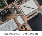 top view of photographer work... | Shutterstock . vector #725359948