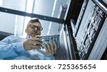 low angle shot in fully working ... | Shutterstock . vector #725365654