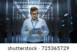 it technician walks through... | Shutterstock . vector #725365729