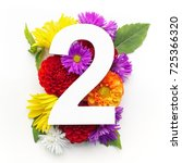 layout with colorful flowers ... | Shutterstock . vector #725366320