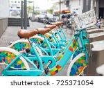 public bikes for tourist people ...   Shutterstock . vector #725371054