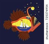 terrible deep water fish | Shutterstock .eps vector #725374954