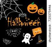 halloween doodles | Shutterstock .eps vector #725375446