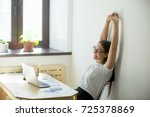 happy satisfied female manager... | Shutterstock . vector #725378869