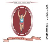 the young athlete ran first to... | Shutterstock .eps vector #725382226