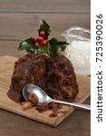 closeup cut christmas pudding...