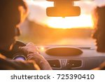 the man and woman drive a car... | Shutterstock . vector #725390410