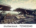 ruins of a city highway.... | Shutterstock . vector #725403340