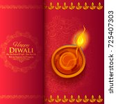 illustration of burning diya on ... | Shutterstock .eps vector #725407303