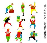 shopping people set. christmas... | Shutterstock .eps vector #725415046