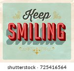 vintage style postcard   keep... | Shutterstock .eps vector #725416564