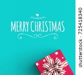 merry christmas text on color... | Shutterstock . vector #725418340