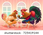 hen and rooster in a cafe.... | Shutterstock .eps vector #725419144