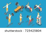 fitness weight lifting in gym ... | Shutterstock .eps vector #725425804