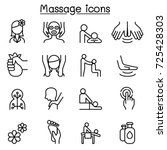 massage   spa icon set in thin... | Shutterstock .eps vector #725428303