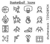 basketball icon set in thin... | Shutterstock .eps vector #725428924