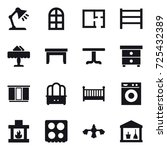 16 vector icon set   table lamp ... | Shutterstock .eps vector #725432389