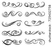 black and elegant swirls... | Shutterstock .eps vector #725432758