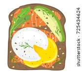 poached egg toast with salmon...   Shutterstock .eps vector #725434624