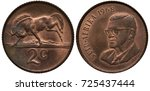 Small photo of South Africa African coin 2 two cents 1968, Wildebeest galloping left, bust of President Charles Swart