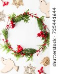 frame with christmas wreath ... | Shutterstock . vector #725441644