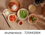 vietnamese traditional meal in... | Shutterstock . vector #725442004