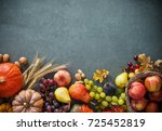 Autumn Fruits And Pumpkins Wit...