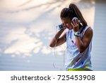urban sport girl with... | Shutterstock . vector #725453908