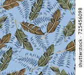 tropical brown and blue palm... | Shutterstock .eps vector #725456098