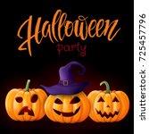 halloween background  pumpkin.... | Shutterstock .eps vector #725457796