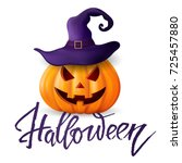 halloween pumpkin  castle and... | Shutterstock .eps vector #725457880