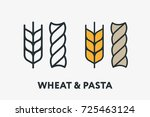 wheat and pasta. bakery flour... | Shutterstock .eps vector #725463124