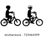 little boy riding bicycle... | Shutterstock .eps vector #725464399