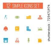 set of 12 handmade icons set... | Shutterstock .eps vector #725471974