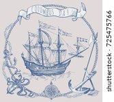 happy columbus day illustration.... | Shutterstock .eps vector #725475766