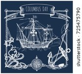 happy columbus day illustration.... | Shutterstock .eps vector #725475790