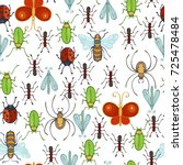 vector seamless insects pattern.... | Shutterstock .eps vector #725478484